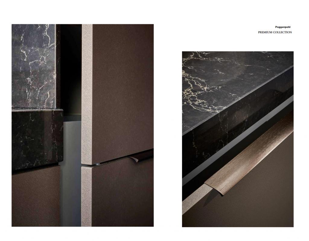 Bề mặt cửa và tay cầm trong bộ sưu tập Premium Collection với thiết kế đồng nhất